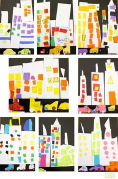 Skyscraper-art-project - I love this art lesson from Deep Space Sparkle!