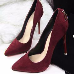 This is styled with pointed toe, thin high heel, slip on design, suede exterior and letter back decoration. Crafted from flock, nubuck leather, rubber and PU materials. This pair will go with any ense