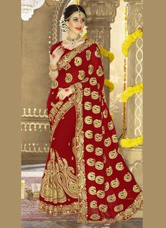 http://www.sareesaga.in/index.php?route=product/product&product_id=28565 Style	:	Bridal Saree Shipping Time	:	10 to 12 Days Occasion	:	Party Wedding Fabric	:	Georgette Colour	:	Maroon Work	:	Embroidered Patch Border Work For Inquiry Or Any Query Related To Product, Contact :- +91-9825192886, +91-7405449283