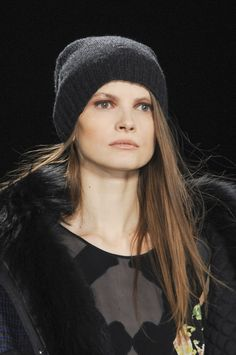 BCBG Max Azria Fall 2013 - Straight, sleek long hair paired with an earth tone makeup palette