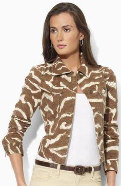 Lauren by Ralph Lauren Print Denim Jacket available at #Nordstrom