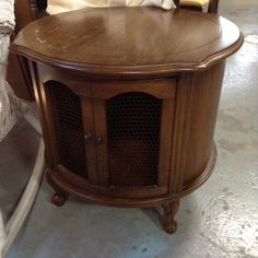 French Provincial Fruitwood Cylindrical Side Table as is $35
