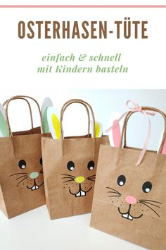OSTERHASEN-TÜTE You can easily tinker this Easter bunny bag with your children at home, in the dayca Kids Events, Holidays And Events, Happy Easter, Easter Bunny, Bunny Bags, Easter Crafts For Kids, Easter Wreaths, Spring Crafts, Gift Bags