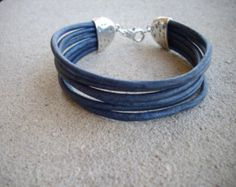 3mm Distressed Blue Multi Strand Leather Bracelet with Hammered Silver Ends
