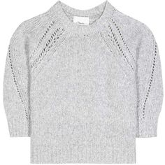 3.1 Phillip Lim Wool-Blend Sweater ($420) ❤ liked on Polyvore featuring tops, sweaters, grey, knitwear, gray top, wool blend sweater, grey top, 3.1 phillip lim sweater and gray sweater