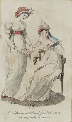 English fashion plates from and French fashion plates from Year 10 of the French Republican Calendar. All images come from the collection of the Bibliothèque des Arts Décoratifs. Regency Dress, Regency Era, English Fashion, French Fashion, 1800s Fashion, Vintage Fashion, Empire Style, Fashion Plates, Vintage Outfits