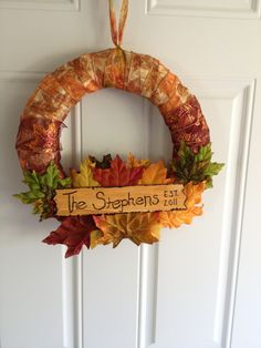 Easy DIY fall wreath idea I used a straw wreath Fall 2in ribbon Straight pins Plastic leafs FOR THE SIGN Piece of wood Hot glue gun Wood burner Stain (if u want)