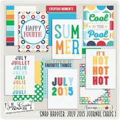Snap Happier: July 2015 Journal Cards 1 by Bella Gypsy Designs