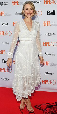 Every Fashion Moment You Need to See from the Toronto Film Festival | RACHEL MCADAMS  | in a white lace dress and nude sandals at a live read event on Sept. 12.