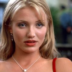 Young Cameron Diaz in Red Dress