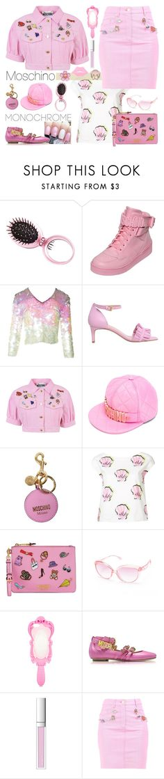 """""""Color Me Pretty: Head-to-Toe Pink"""" by yours-styling-best-friend ❤ liked on Polyvore featuring Charlotte Russe, Moschino, Boutique Moschino and RMK"""