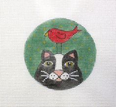 Whimsical Black Cat w/Red Bird Perched on Head Handpainted Needlepoint Canvas #Unbranded