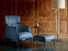 Contemporary armchair / leather / cast aluminum / by Jean-Marie Massaud ARCHIBALD  POLTRONA FRAU