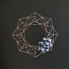 Large Copper Himmeli Wreath / Modern Geometric Wall Sculpture / Minimalist Home Decor Holiday Wreaths, Holiday Fun, Christmas Decorations, Tree Decorations, Minimalist Christmas, Minimalist Home Decor, Christmas Post, Christmas Holidays, Xmas