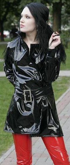 Black PVC Raincoat.