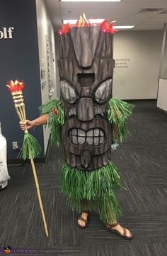 This is me at work. I got my inspiration from my trip to Hawaii and love for tikis. I found a similar one online and tried to make it. It is made from foam flooring tiles that were duct taped together and then scored with. Homeade Halloween Costumes, Scary Costumes, Halloween Costume Contest, Halloween Projects, Halloween Cosplay, Holidays Halloween, Halloween Make Up, Halloween Decorations, Halloween Party