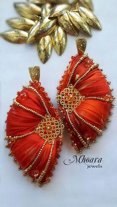 Shibori silk earrings ' Red Oriental ' designed by Mhoara Jewels