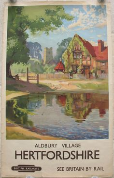 Aldbury Village - Hertfordshire, by Jack Merriott. A typical English village with pond, church and old house. But also in view are the more unusual sight of the stock and whipping post, which have been preserved in-situ. Apart from cars the view now is not hugely different from the peaceful idyll depicted on this post-war poster. Original Vintage Railway Poster available on originalrailwayposters.co.uk