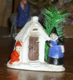 Antique German Bisque Snowbaby Snow baby  Elf Gnome Dwarf w/witch house