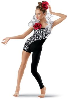 Asymmetrical Graphic Unitard -Weissman Costumes