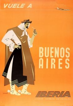 Buenos Aires Argentina Iberia Airlines Gaucho 1964 - original vintage poster by Alberto Moreno listed on AntikBar.co.uk