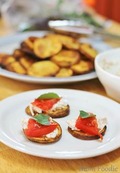 Grilled Potato Planks Topped with Tuna, Tomato and Basil | Easy Appetizer Recipe