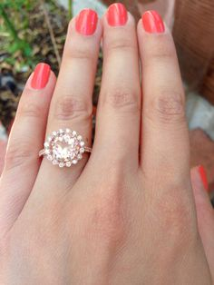 14K Rose Gold Morganite and Diamond Ring by LusterLaValliere