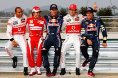 (L-R) F1 World Championship contenders Lewis Hamilton of Great Britain and McLaren Mercedes, Fernando Alonso of Spain and Ferrari, Mark Webber of Australia and Red Bull Racing, Jenson Button of Great Britain and McLaren Mercedes and Sebastian Vettel of Germany and Red Bull Racing pose for a photograph during previews to the Korean Formula One Grand Prix at the Korea International Circuit on October 21, 2010 in Yeongam-gun, South Korea.
