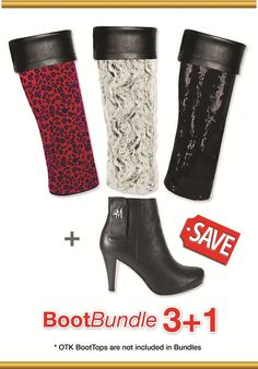 Boot Bundle 3+1 choose any three custom sized boottops any size heel for only $163.08 use code JanSale at www.sue.llyndamoreboots.com