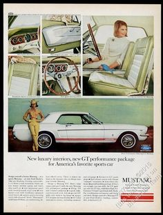 1965 Ford Mustang GT white car with red stripes 6 photo vintage print ad | eBay