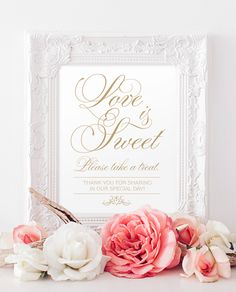 """Love is Sweet Sign - 8x10 sign - DIY Printable sign in """"Baroque Swirls"""" antique gold - PDF and JPG files - Instant Download von CharmingEndeavours auf Etsy https://www.etsy.com/de/listing/226277563/love-is-sweet-sign-8x10-sign-diy"""