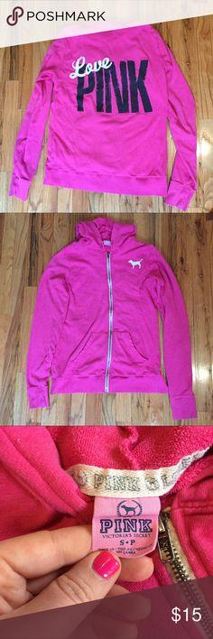 VS PINK Hot Pink Zip Up Hoodie Well loved but still in good condition. PINK Victoria's Secret Tops Sweatshirts & Hoodies