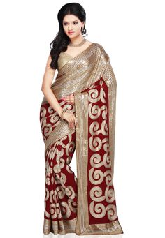 Buy Dark Red Pure Georgette Saree with Blouse online, work: Embroidered, color: Dark Red, usage: Party, category: Sarees, fabric: Georgette, price: $842.00, item code: SXE155, gender: women, brand: Utsav