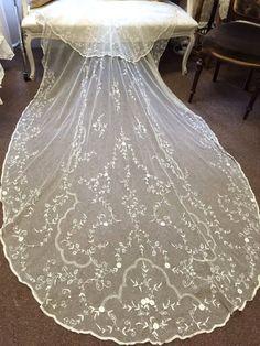 Antique Vintage 1920's Original Brussels Tambour Lace Wedding Bridal Veil - Art Deco - Art Nouveau - The Great Gatsby - Vintage Wedding