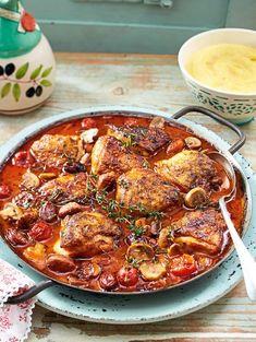 poulet, cuisine italienne, chorizo, champignons, recette