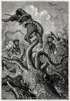 Original Illustrations by Alphonse de Neuville and Édouard Riou for Jules Verne's 20,000 Leagues Under the Sea, 1871