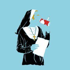 #nun #illustration #color #beer #smoking #fallen #bad #cigarette #religion #believing