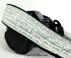 Camera Strap with Pocket, dSLR, Happy Thoughts, Aqua, Inspirational, SLR on Wanelo