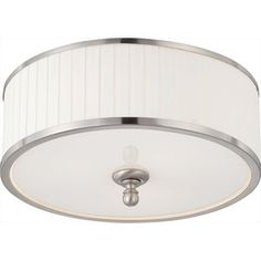 15-in W Brushed Nickel Ceiling Flush Mount