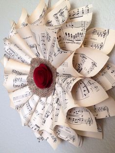Music sheet wreath vintage home decor choir gift piano school teacher opera Christmas wreath on Etsy, $20.00