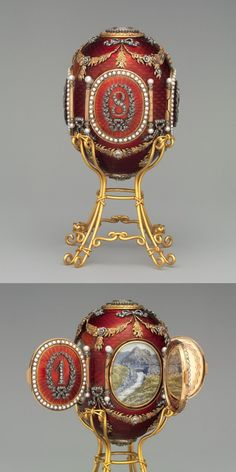 Mikhail Evlampievich Perkhin and Konstantin Yakovlevich Krijitski for the House of Carl Faberge, Imperial Caucasus Egg, 1893 (source).