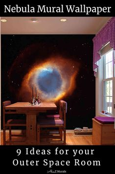 Click to see 9 ideas for an outer space room, including this nebula mural, some of which have been featured on Cityline. This mural wallpaper is made from a NASA supplied photograph that's washable, so it's perfect for a dining room. The brown and blue cloud of dust and gas is brilliant against the black star dotted galaxy and is the perfect decor for a nebula room. #outerspaceroom #spacethemedroom #nebula Outer Space Bedroom, Blue Clouds, Out Of This World, Black Star, Bedroom Inspo, Night Skies, Nasa, Dorm, Kids Room