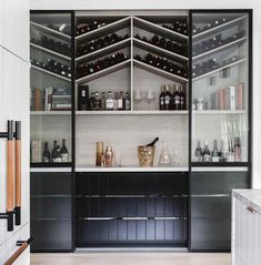 Showcase your vino collection in style with one of these amazing built-in wine storage systems… Wine Storage Cabinets, Wine Rack Cabinet, Drinks Cabinet, Kitchen Cabinet Wine Rack, Built In Bar Cabinet, Built In Buffet, Built In Cabinets, Home Design, Home Bar Designs