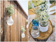 lightbulb vases and shabby chic centrepieces Sarah Jozsa Photography