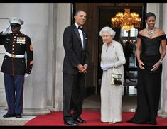 Queen Elizabeth II and U.S. Presidents Past and Present---Queen Elizabeth, who has reigned over England longer than President Obama has been alive, has met with 12 U.S. presidents. Obama was the most recent; he and the first lady made a two-day state visit to Buckingham Palace in April 2009. Here the first couple greets the queen for a dinner at the Winfield House in London, May 25, 2011. (Jewel Samad/AFP/Getty Images)
