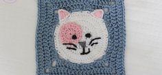 Piastrella uncinetto con gattino – Schema