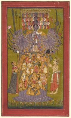 Krishna Vishvarupa India, Himachal Pradesh, Bilaspur ca. Opaque watercolor and gold on paper The Bhagavad Gita, a canonical Hindu text, presents a spectrum of yogic doctrines and practices within a framework of personal devotion (bhakti) to… Arte Shiva, Art Indien, Freer Gallery, Jugendstil Design, Les Religions, Cleveland Museum Of Art, Krishna Art, Lord Krishna, Bhagavad Gita