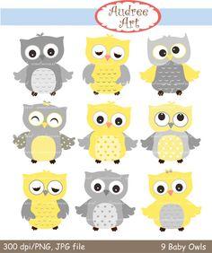 Owls clip art  9 baby owls clip art yellow Owls grey by audreeart, $4.80
