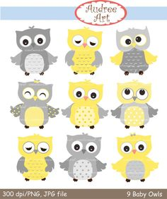 Owls clip art , 9 baby owls clip art, yellow Owls, grey and yellow owls, cute owls , color owls, owl , instant download