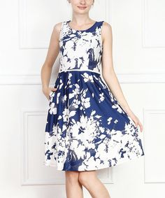 Look what I found on #zulily! Blue & White Floral Fit & Flare Dress by Reborn Collection #zulilyfinds